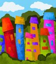 Colorful village background with a Royalty Free Stock Photography