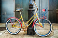 Colorful Vintage Bicycle Leaning on a New Orleans Lamppost Royalty Free Stock Photo