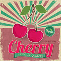 Colorful vintage cherry label poster vector illustration Stock Photography