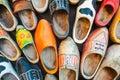 Colorful vintage Dutch wooden clogs