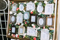 Colorful vintage frames with the list of the wedding guests