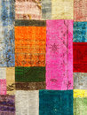 Colorful vintage patchwork rug with ethnic design Royalty Free Stock Images