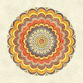 Colorful vintage round mandala circular fractal with multicolored stripes in the grunge style Royalty Free Stock Images