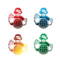 Colorful virtual reality headset icons on white background. isolated VR headset icons. eps8.