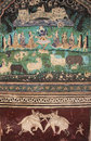 Colorful wall paintings in chitrashala bundi palace india rajasthan Royalty Free Stock Photos