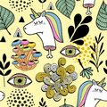 Colorful wallpaper with dead unicorn and human eyes. Royalty Free Stock Photo