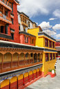 Colorful walls of Thikse monastery-Ladakh,India Royalty Free Stock Photo