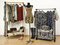 Colorful wardrobe with jungle pattern clothes and accessories dressing closet animal print arranged on hangers cheetah print top Royalty Free Stock Image