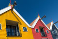Colorful warehouses wooden in dutch village zoutkamp Royalty Free Stock Images