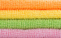 Colorful wash cloths closeup of Stock Photography