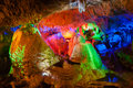 The colorful water eroded cave image taken in china s yunnan province kunming city jiuxiang scenery spot there were various light Royalty Free Stock Photography