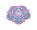 Colorful Water Fountain with Floral Elements in Pink Vector