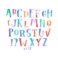 Colorful watercolor aquarelle font type handwritten hand draw abc alphabet letters Royalty Free Stock Photo