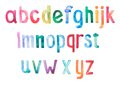 Colorful watercolor aquarelle font type Royalty Free Stock Photo