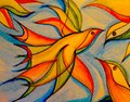 Colorful Watercolor of a bird in motion soaring to new heights Stock Photos