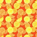 Seamless pattern with watercolor summer lemon fruits . Citrus slice, lemon, orange on warm red background. Tropical fruits
