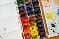 Colorful watercolor paintbox palette Stock Photography