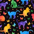 Colorful watercolor seamless pattern with cute cats and butterflies isolated on black background. vector eps10