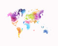 Colorful watercolor world map isolated on white
