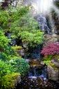 Colorful waterfalls in dutch garden 'Keukenhof'