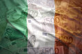 Colorful waving irish flag on a euro  background Royalty Free Stock Photo