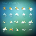 Colorful weather icon set on dark blue and green blurred backgroun