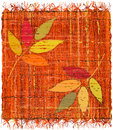 Colorful weave interlace plaid with embroidery of stylized leafs on white Royalty Free Stock Photography