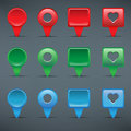 Colorful web buttons checkboxes pointers and office pins Stock Images