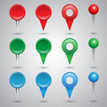 Colorful web buttons checkboxes pointers and office pins Stock Photo