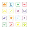 Colorful flat miscellaneous icon set with rounded rectangle frame Royalty Free Stock Photo