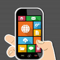 Colorful web mobile ui apps user interface flat icons internet elements human hand holds a smart phone applications graphic set Royalty Free Stock Photography