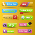 Colorful website online help buttons design vector illustration glossy graphic label template banner.