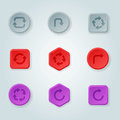Colorful website turn buttons design vector illustration glossy graphic label template banner.