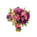 Colorful wedding bouquet on white background purple pink vinous colored isolated Stock Photography