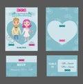 Colorful Wedding Invitations Postcards Set
