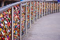 Colorful wedding padlocks bridge good quality photo of a modern steal over some river in europe full of locks thousands of Stock Photography