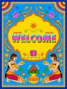 Colorful welcome banner in truck art kitsch style of India Royalty Free Stock Photo