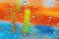 Colorful wet window Stock Photo