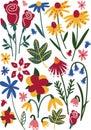Colorful Wild or Garden Blooming Flowers, Leaves, Herbaceous Flowering Plants, Floral Seamless Pattern, Seasonal Decor