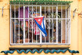 Colorful window with a Cuban flag in Old Havana Cuba Royalty Free Stock Photo