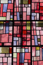 Colorful window glass stained in sun backlight Stock Photography