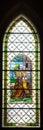Colorful windowpane in Basilica of Levoca, Slovakia