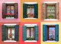 Colorful windows in Burano, near Venice