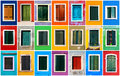 Colorful windows collage of with frames on burano island venice italy Royalty Free Stock Photography