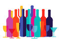 Colorful wine bottles and glasses Royalty Free Stock Photo