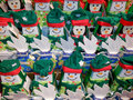 Colorful winter playful background display of of boxes designed to represent snowmen penquins and white doves Stock Photography