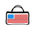 Colorful women bag with American flag Royalty Free Stock Photo