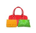 Colorful women bags isolated on white Royalty Free Stock Photo