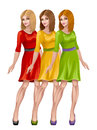 Colorful women on a white background Royalty Free Stock Photos
