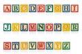 Colorful wood alphabet blocks isolated on white Royalty Free Stock Photo